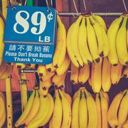 Retro chinatown market bananas Stock Photos