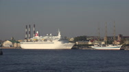 Stock Video Footage of White liner ship at the pier in St. Petersburg. 4K.