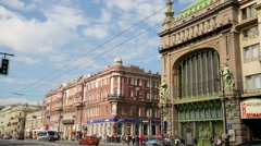 View of the Nevsky Prospect, the main street in the city of St. Petersburg. Stock Footage