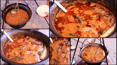 Collage multi screen goulash fish  cooking in a pot 1920x1080 full hd footage Stock Footage