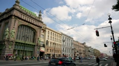 Pan view of the Nevsky Prospect, the main street in the city of St. Petersburg. - stock footage