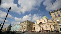 View of the Nevsky Prospect, the main street in the city of St. Petersburg. - stock footage