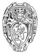 Old historical heraldic design of building in Roma, Italy Stock Illustration