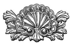 heraldry clam shell sketch calligraphic drawing isolated on whit - stock illustration