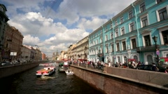 View of the Griboyedov Canal embankment street. Stock Footage