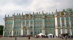 Pan view of Hermitage Museum or Winter Palace. - stock footage