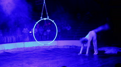 0130 woman acrobat performs a trick in circus Stock Footage