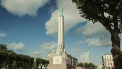 A hyperlapse of the Freedom monument of Latvia Stock Footage