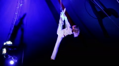0131 woman acrobat performs a trick in circus - stock footage