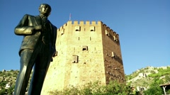 Stock Video Footage of Mustafa Kemal Ataturk Statue in Alanya Turkey 3