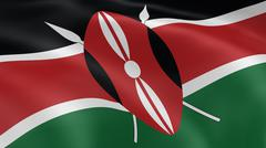 Kenyan flag in the wind Stock Photos