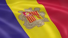 andorran flag in the wind - stock photo