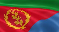 Eritrean flag in the wind Stock Photos