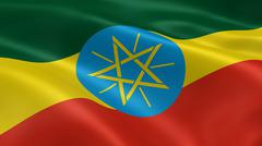 Ethiopian flag in the wind Stock Photos