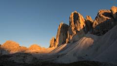 Tre cime de lavaredo sunset pan 11500 Stock Footage