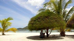 Young Woman Resting at Beach with Dog under Tree. Stock Footage