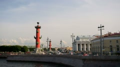 View of the easternmost tip of the Vasilevsky Island, called Strelka. - stock footage
