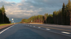 View at the empty road at early morning, Karelia, Russia Stock Footage