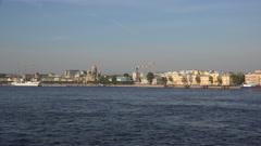 Lieutenant Schmidt Embankment in St. Petersburg. 4K. Stock Footage