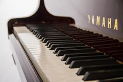 Yamaha Disklavier Grand Piano and Keys on White Background. - stock photo