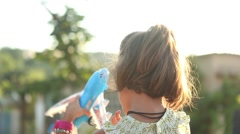 Toy airplane, girl wants to be a pilot - stock footage