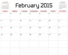 Year 2015 February Planner - stock illustration