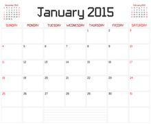 Year 2015 January Planner Stock Illustration