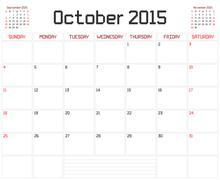 Year 2015 October Planner - stock illustration