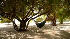 Woman Lying in a Hammock in Tree Shadow on a Beach. - stock footage