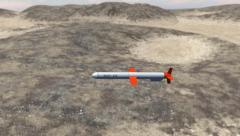 Tomahawk Cruise Missile Over Desert Mountains - stock footage