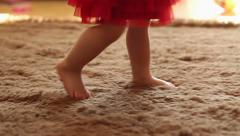 Stock Video Footage of Charming small legs doing the first steps, slow motion HD