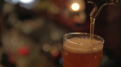 Pouring Pint of Beer Close up Stock Footage