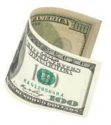 one hundred dollar banknote with clipping path - stock photo