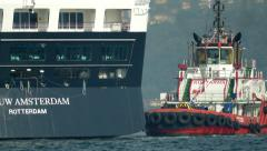 MS Nieuw Amsterdam liner approaching at Istanbul port (Editorial) Stock Footage