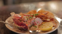 Salmon Tartar dish with fork - stock footage
