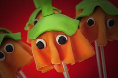 Homemade cake pops with the shape of ghost halloween pumpkins Stock Photos