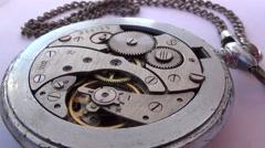 Closeup of old clock mechanism Stock Footage