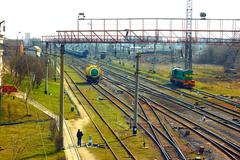 Infrastructure near railway station in khmelnytsky, ukraine Stock Photos