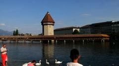 Famous wooden Chapel Bridge  in Luzern, Switzerland Stock Footage