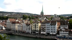 View over Zurich with the river Limmat Stock Footage