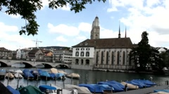 View over Zurich , the river Limmat with stop for boats at the evening, Stock Footage