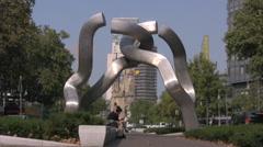 Modern art steel sculpture in Kurfurstendam area of Berlin Stock Footage