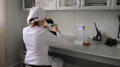 Laboratory on food industry (brewery) Stock Footage