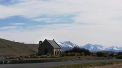 Church of the good shepherd at lake tekapo Stock Footage