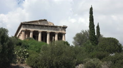 Athens Greece Ancient Agora Temple of Hephaestus 4K 053 Stock Footage