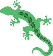 Simple Clean Green Gecko Lizard - stock illustration