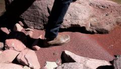 Man Leather Boots Red Sand Stock Footage