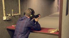 Man shoots the UZI-S1 Stock Footage