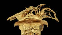 abstract gold splash in slow motion, alpha channel included (FULL HD) - stock footage