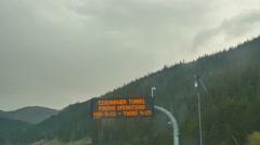 Tunnel sign roadway bridge Stock Footage